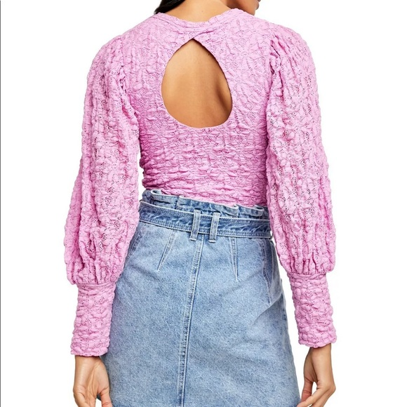 Free People Tea Time Open Back Cropped Blouse